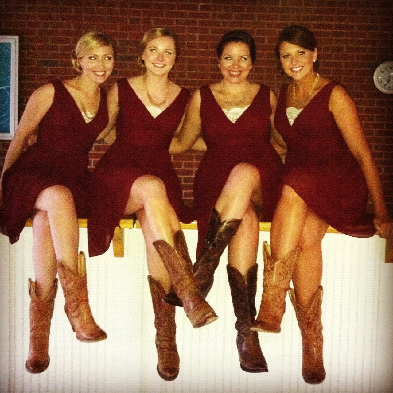 Bridesmaid idea once upon a time the future pinterest red dresses and boots ombrellifo Choice Image