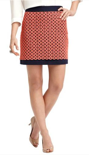 2013Feb07 - Coral Navy Circles Skirt
