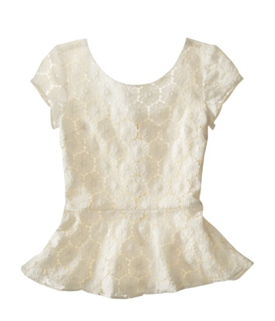 2013Feb13 - Cream Lace Peplum Top