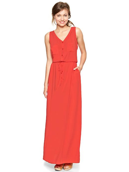 Gap Coral Drawstring Maxi Dress