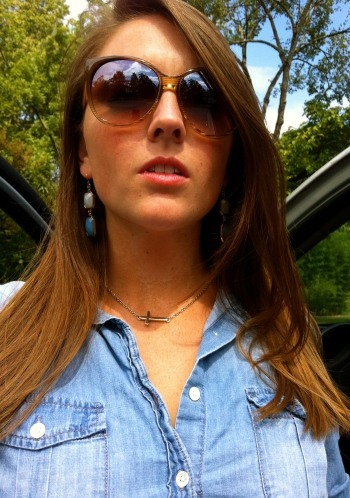 Chambray Shirt Gold Sideways Cross Necklace